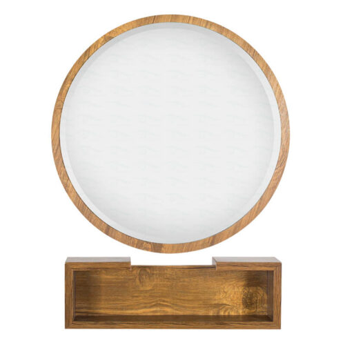 آینه گرد چوب با اتاژور